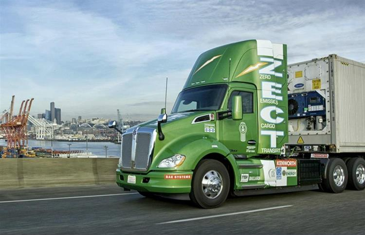 Avec son autonomie de 241 km, le Kenworth T680 Fuel Cell sera testé en conditions réelles sur les ports de Los Angeles et de Long Beach