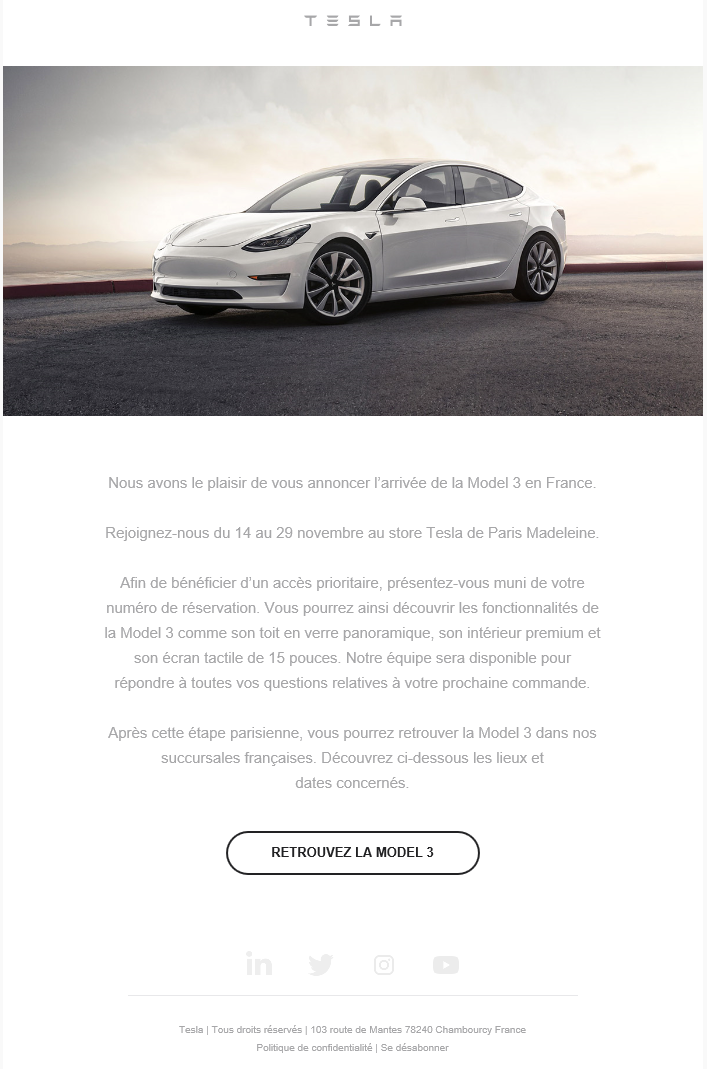 tesla model 3 la berline lectrique d marre sa tourn e en france. Black Bedroom Furniture Sets. Home Design Ideas